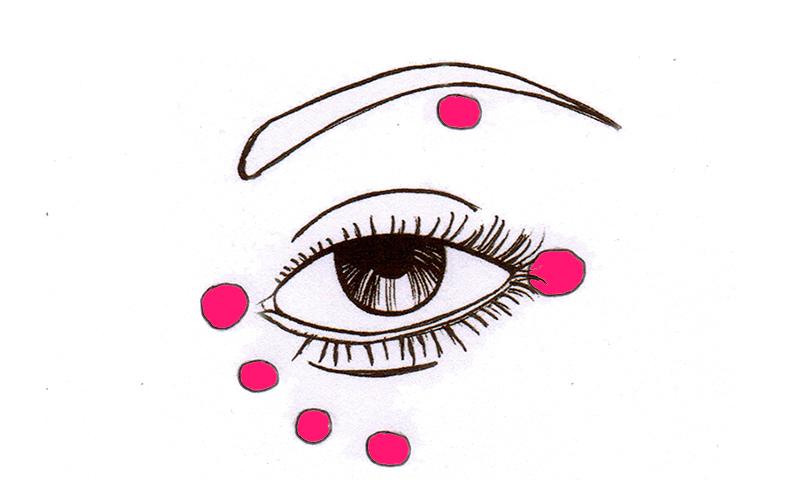 Puntos en los que aplicar iluminador en la zona de los ojos.