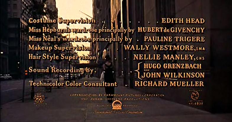 En los créditos de 'Desayuno con diamantes', Givenchy se gana un puesto junto a Edith Head, supervisora de vestuario. © DR