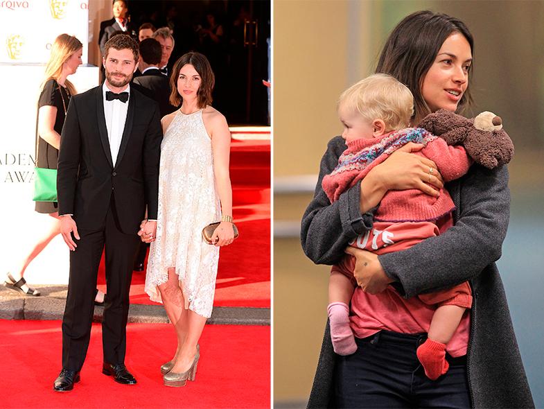 Jamie Dornan con su mujer, Amelia Warner y esta con la niña de 14 meses de la pareja. © Getty Images / Cordon Press