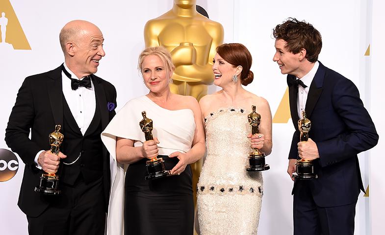 Los cuatro ganadores a mejor interpretación: J.K. Simmons, Patricia Arquette, Julianne Moore y Eddie Redmayne. © Getty Images