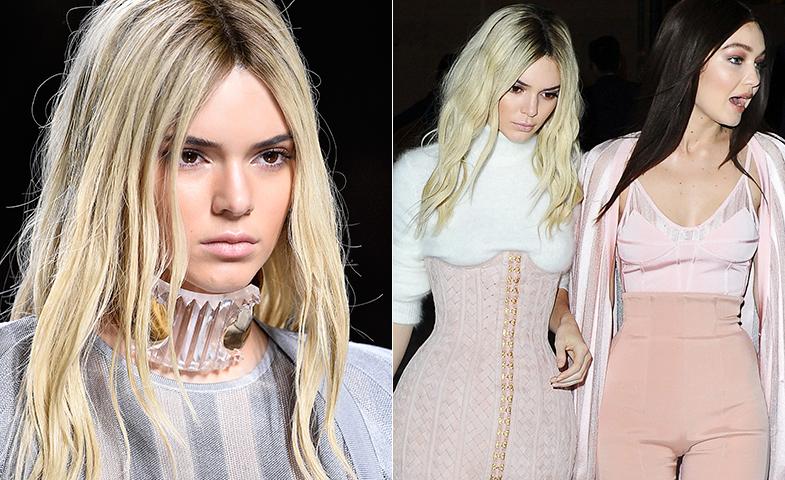 En pasarela: Kendall sorprendió a todos con una melena platino en el último desfile de Balmain. Era un postizo de Balmain Hair Couture. © Lazzari / Cordon Press