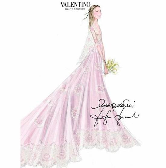 El boceto del vestido, compartido también por la casa italiana en sus redes sociales. © Valentino