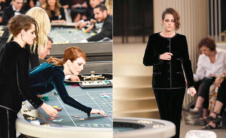 Kristen fue una de las celebrities que interactuaron durante el último desfile de Alta Costura de Chanel. © Cordon Press