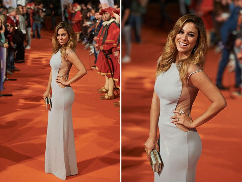 Para asistir al festival de Vitoria se decantó por un vestido de Vicedomini con transparencias en el lateral y clutch de YlianaYepez. © Getty Images