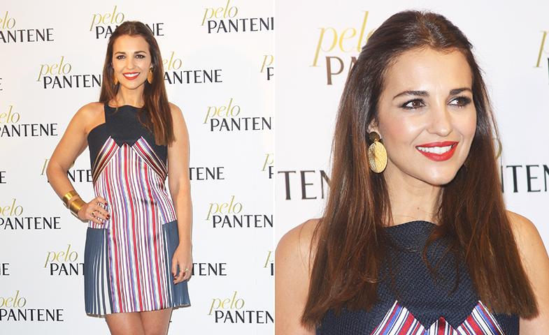 Paula Echevarría posa en la presentación de Pantene con mini vestido de Alvarno. © Cordon Press