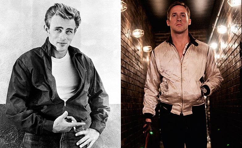 Dos bombers de cine: la de James Dean en 'Rebelde sin causa' (1955) y la de Ryan Gosling en 'Drive' (2010).