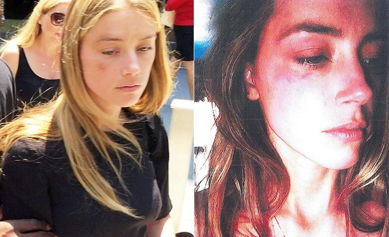 A la izquierda, Amber saliendo del juzgado; a la derecha, la foto que la actriz facilitó como acusación. © Cordon Press