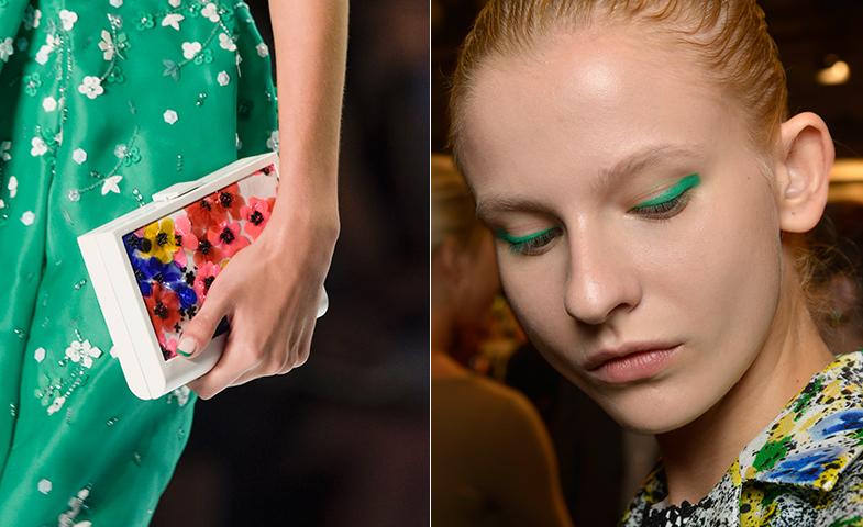 En Monique Lhullier, combinan el eyeliner en verde con una manicura francesa del mismo tono. © Lazzari Studio