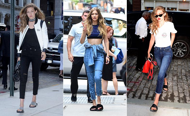Gigi Hadid se declara fan de la versión chancla para pasear por Nueva York. © Cordon Press