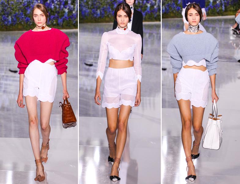 En la última colección de Raf Simons para Dior ya habían cropped tops combinados con prendas oversize. © Mondadori Photo