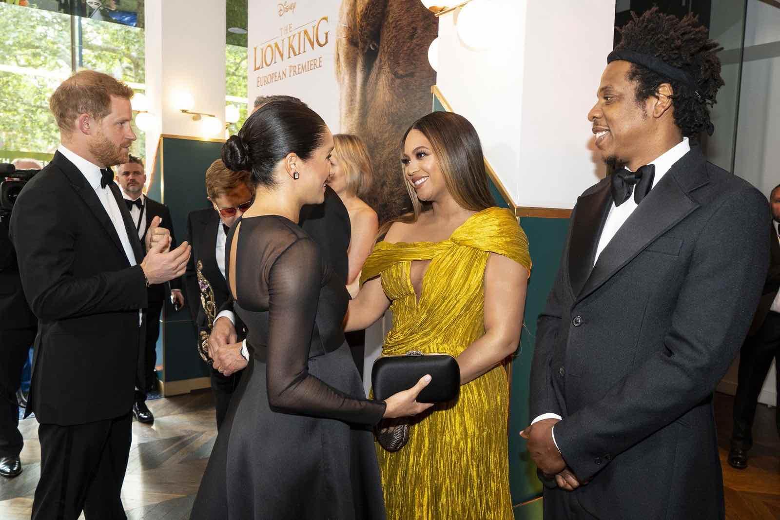 El esperado encuentro entre Meghan Markle y Beyoncé en el estreno de El rey león