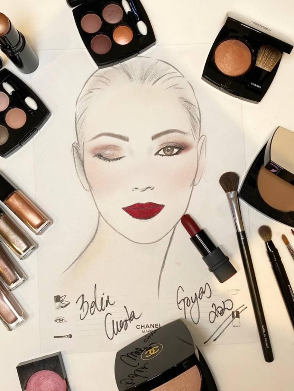 Así ha sido el maquillaje de Chanel para Belén Cuesta en los Goya 2020