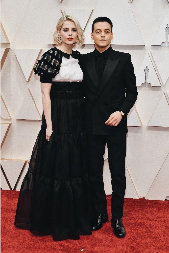Lucy Boynton y Rami Malek Oscars 2020