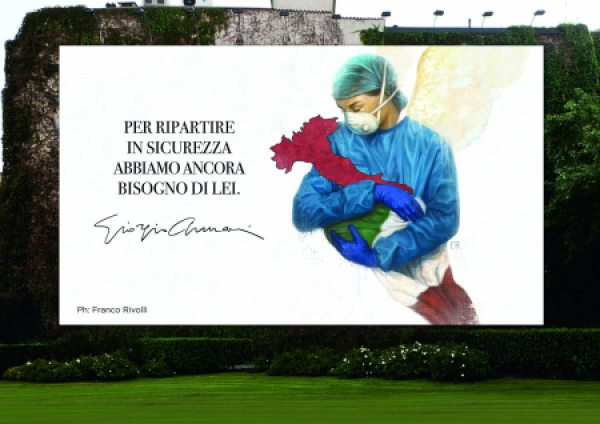 Giorgio Armani inunda Milán con mensajes de ánimo