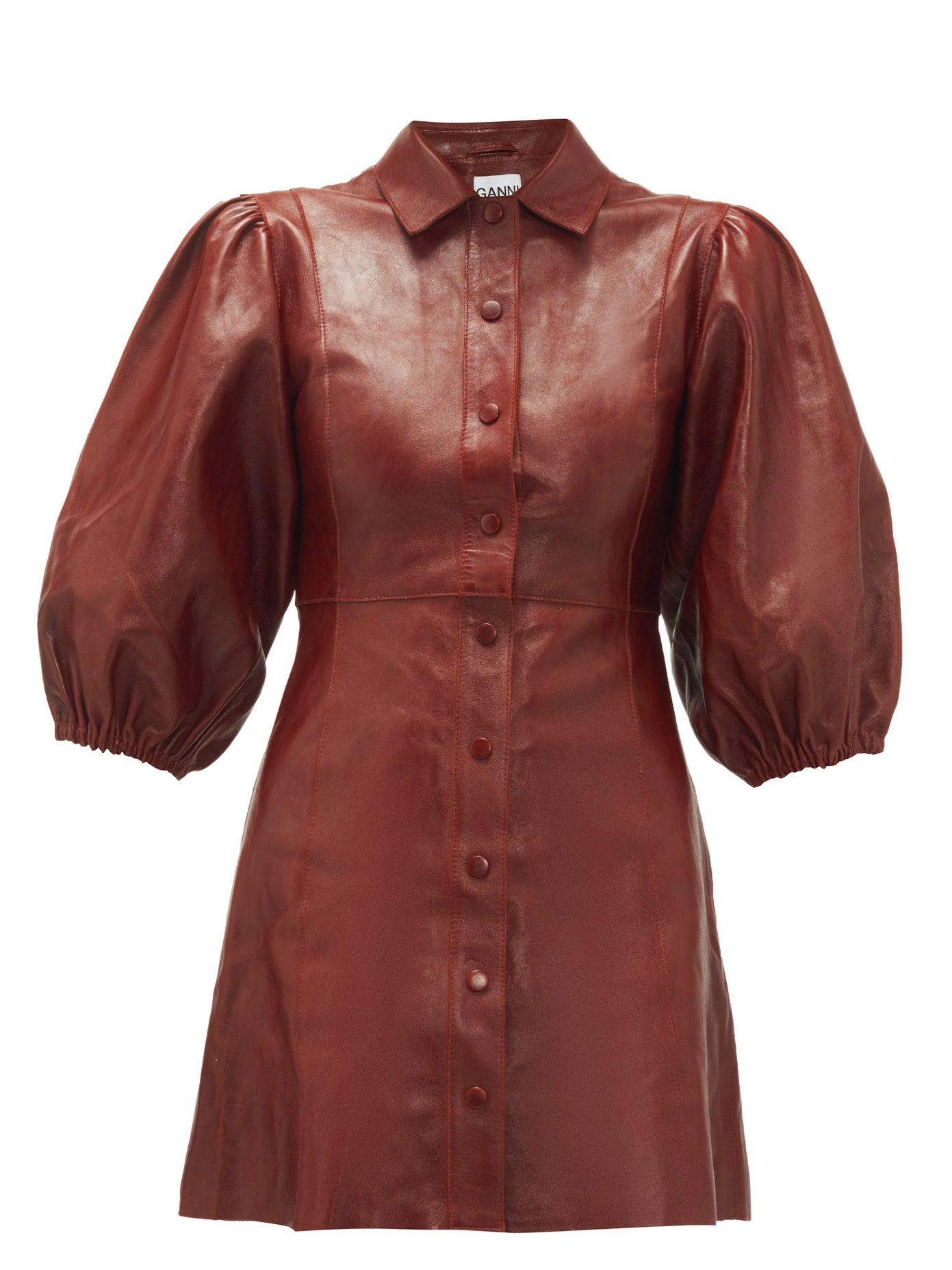 Ganni leather balloon sleeve dress