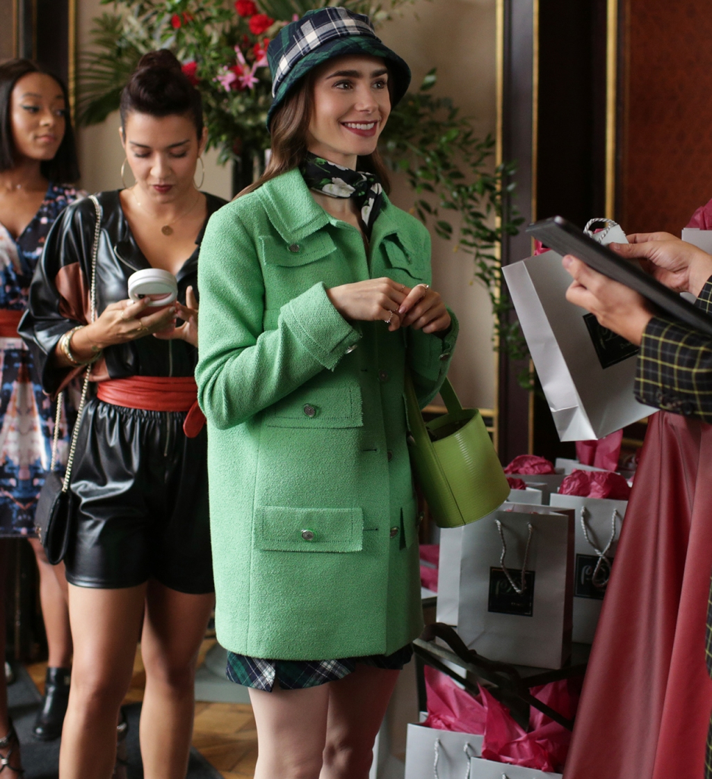 Emily Cooper (played by Lily Collins) wearing Chanel