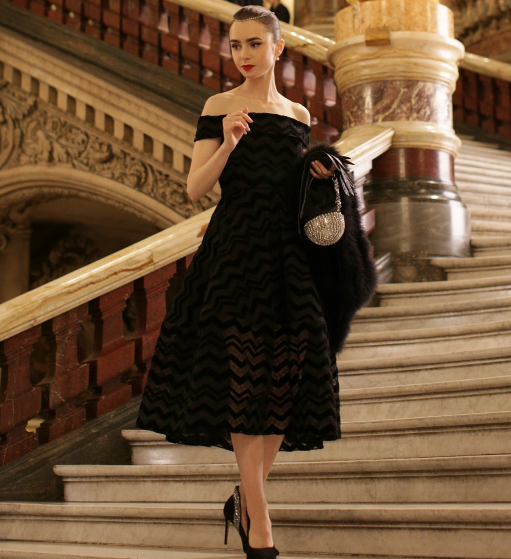 Emily Cooper (played by Lily Collins) wearing Christian Siriano gown.