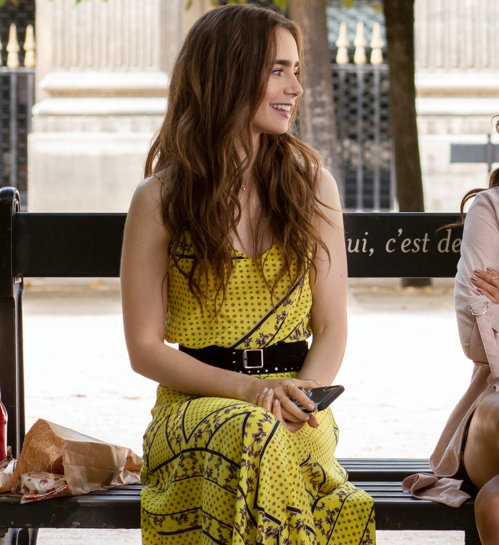Emily Cooper (played by Lily Collins) wearing Ganni