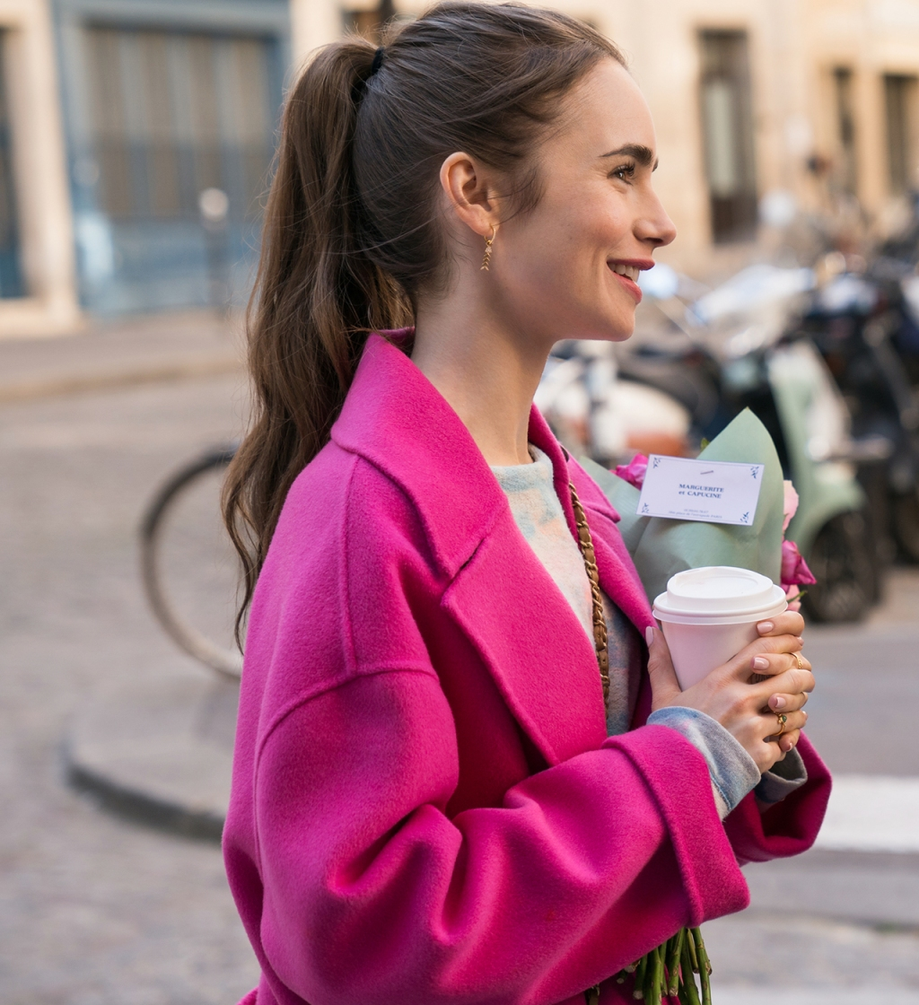 Emily Cooper (played by Lily Collins) wearing Kenzo