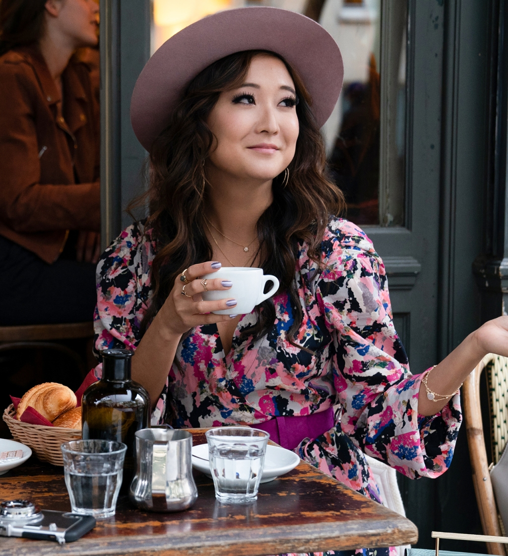 Mindy Chen (played by Ashley Park) wearing floral IRO dress in 'Emily in Paris'