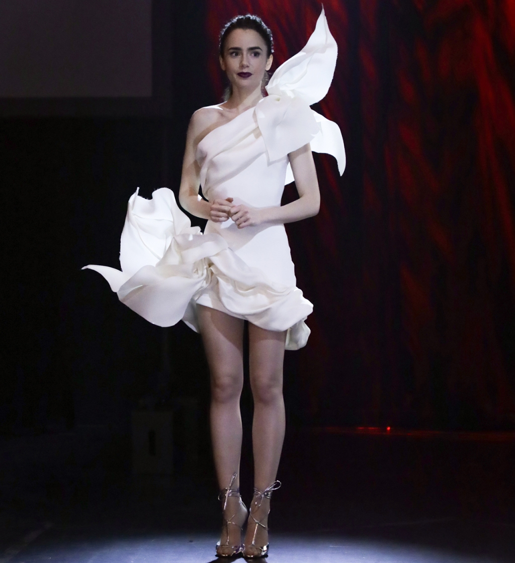 Emily Cooper (played by Lily Collins) wearing Stephane Rolland dress in 'Emily in Paris'