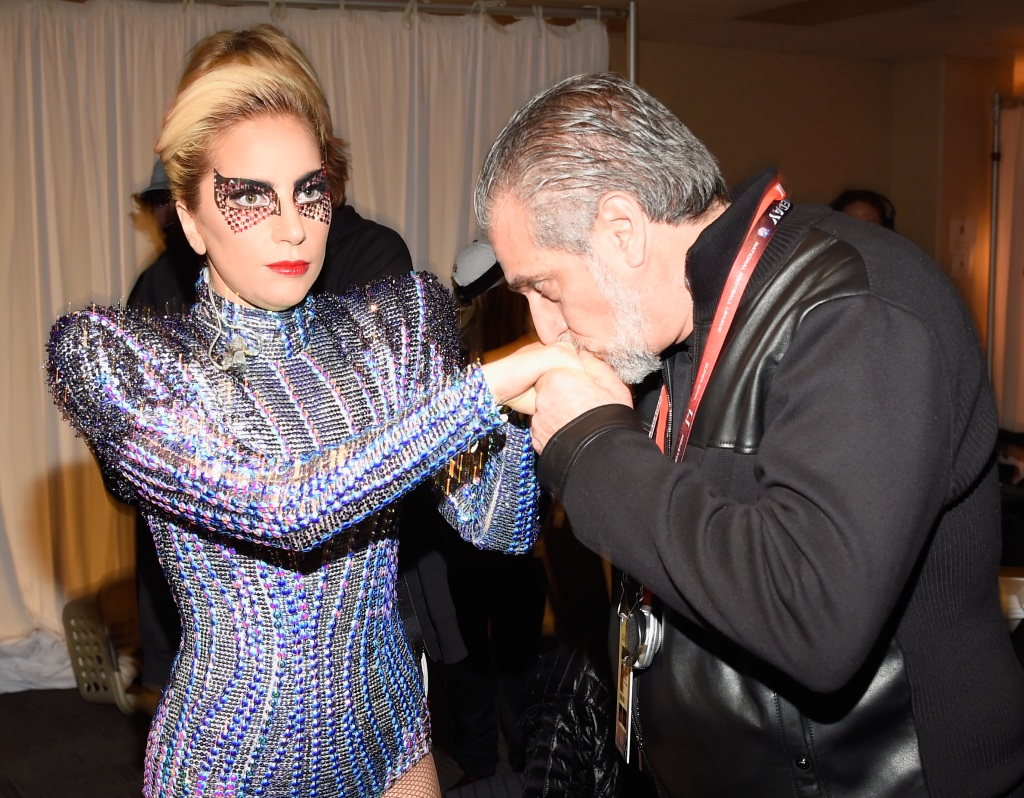 Lady Gaga and her father, Joe Germanotta backstage before the Pepsi Zero Sugar Super Bowl in 2017.