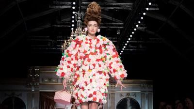 Gigi Hadid walking Moschino runway during Milan Fashion Week