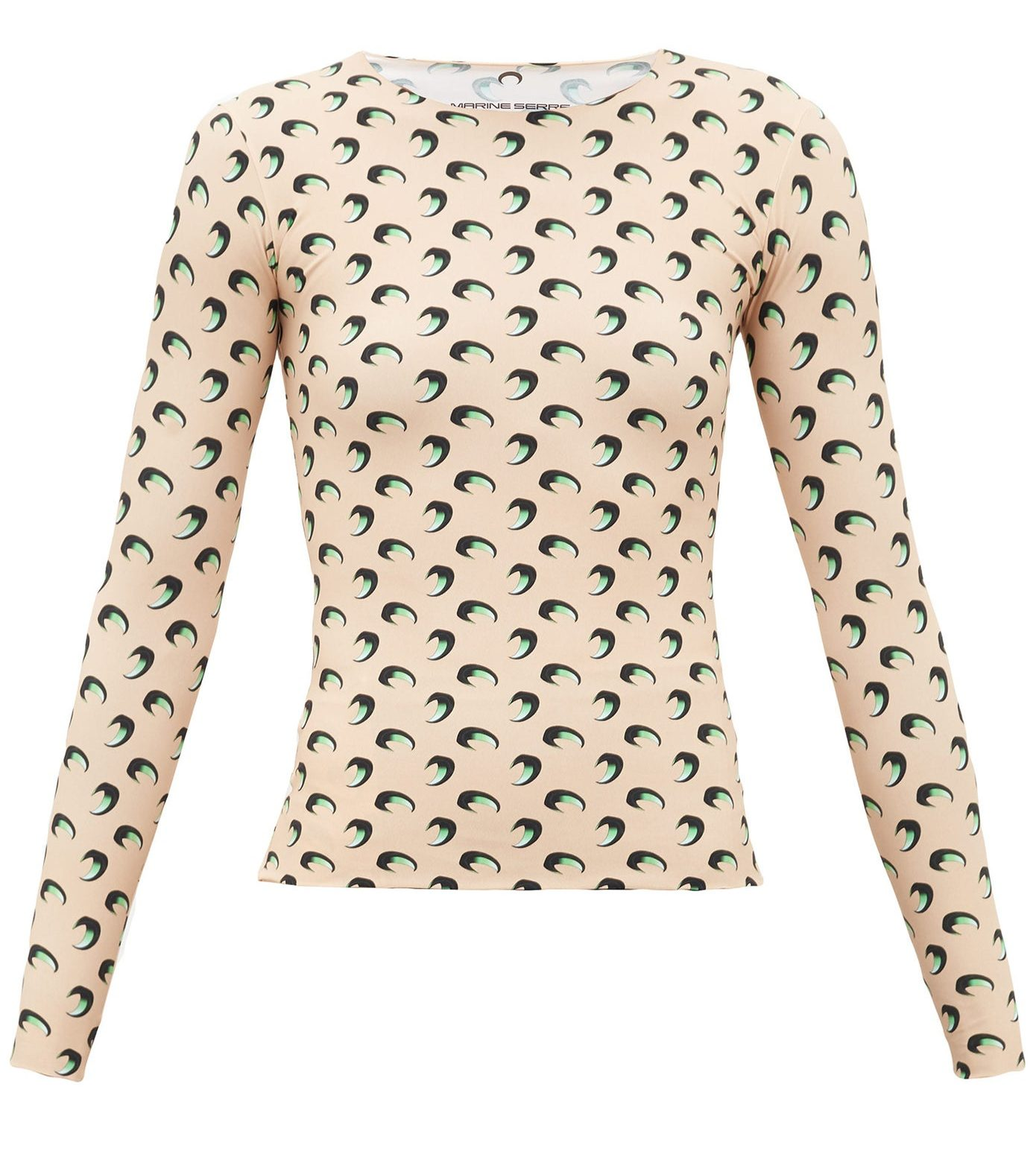 MARINE SERRE Crescent moon-print stretch-jersey top