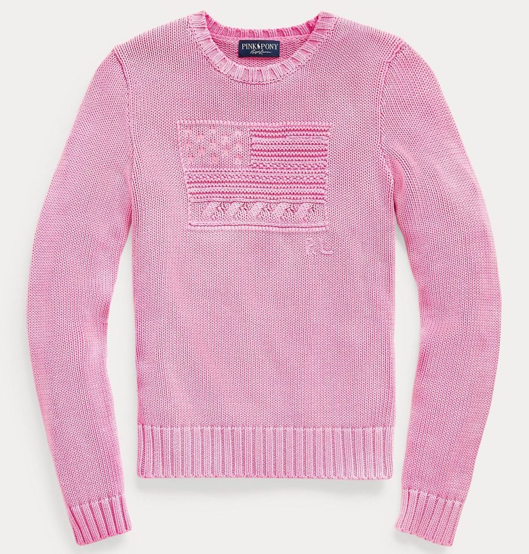 Ralph Lauren Pink Pony Cotton Flag Sweater
