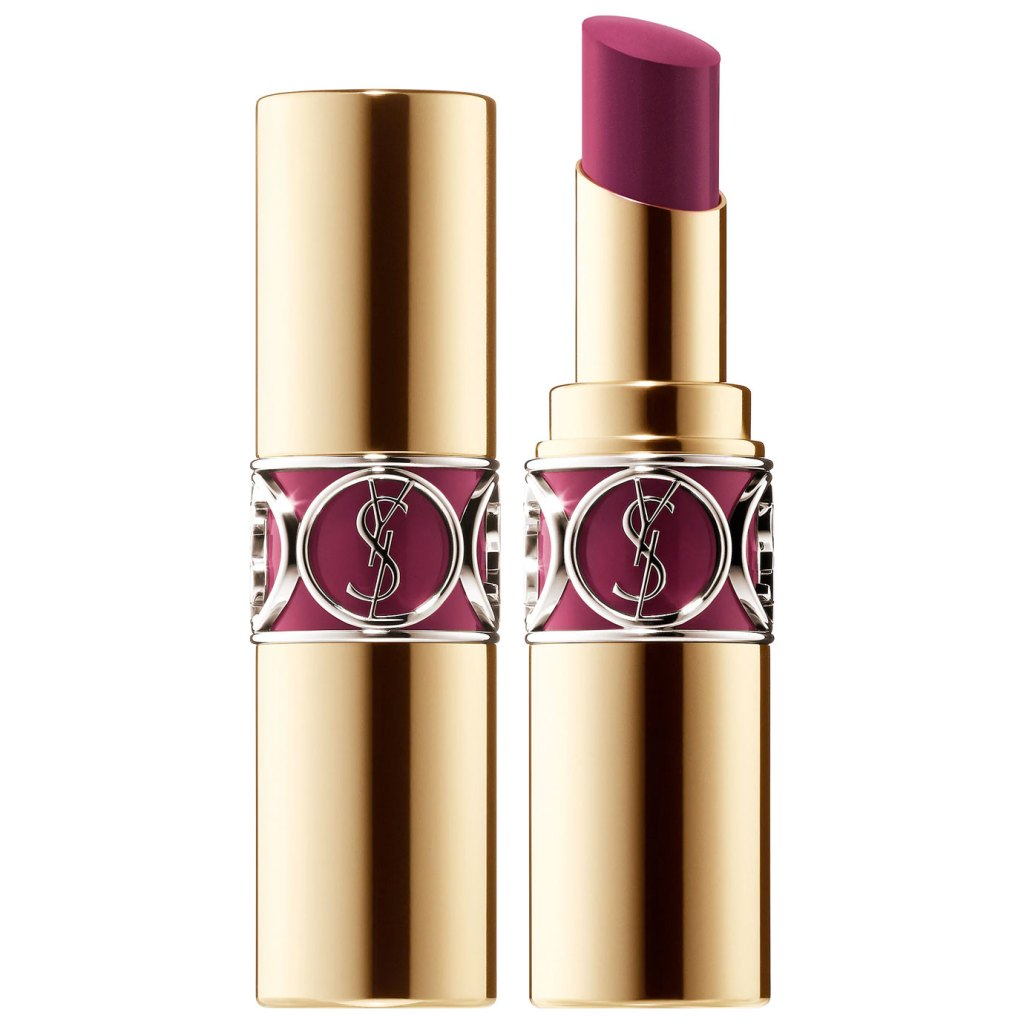 YSL Rouge Volupte Shine Lipstick Balm in Medium Plum.