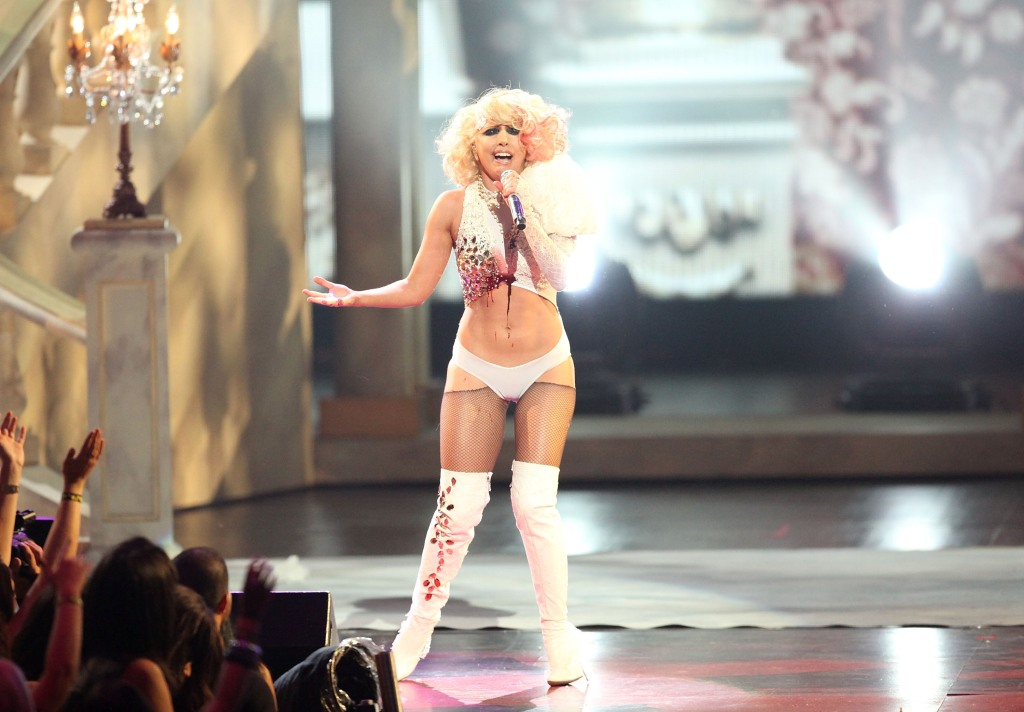 Lady Gaga performs onstage during the 2009 MTV Video Music Awards at Radio City Music Hall.