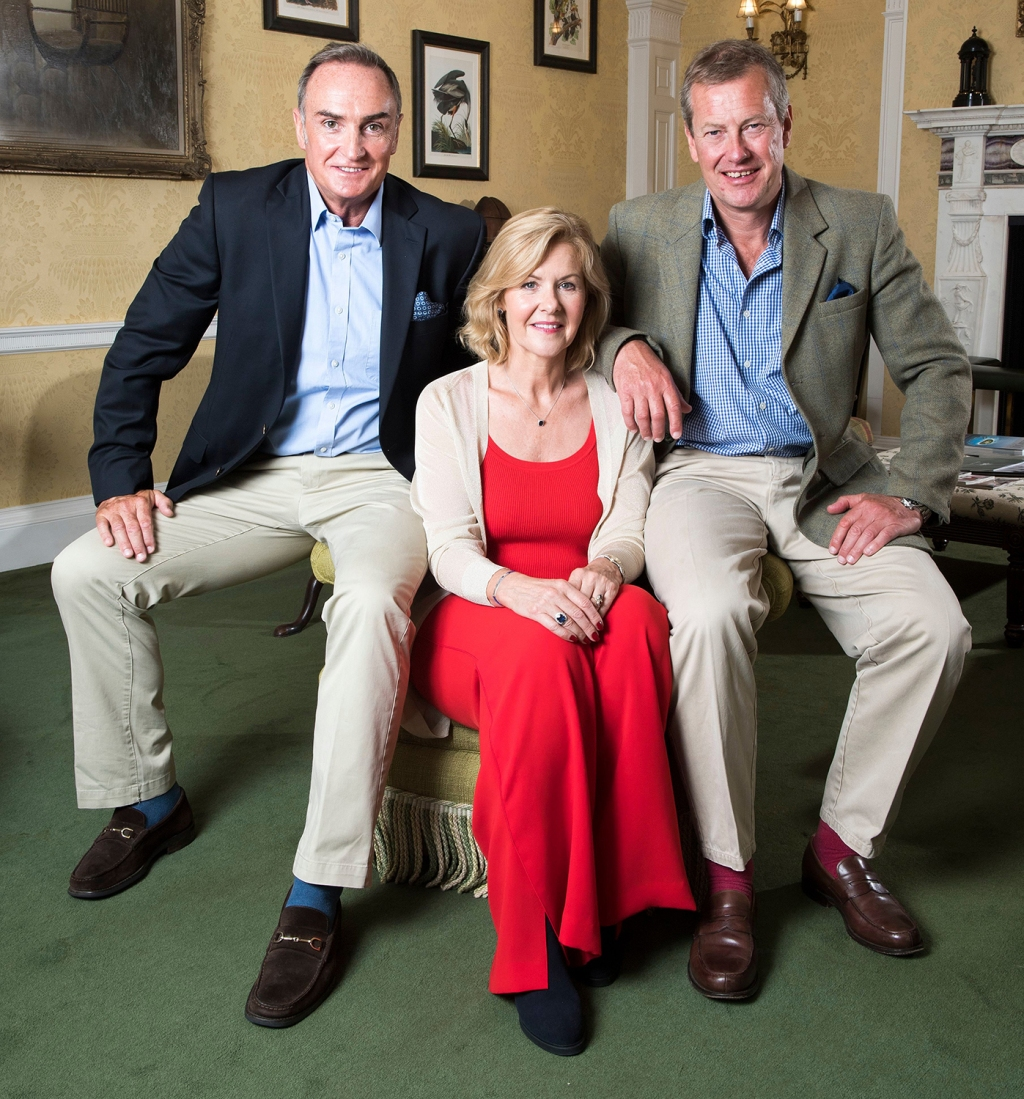 Lord Ivar Mountbatten (right) With His Fiancee James Coyle And Former Wife Lady Penny Mountbatten At Home In Uffculme Devon.