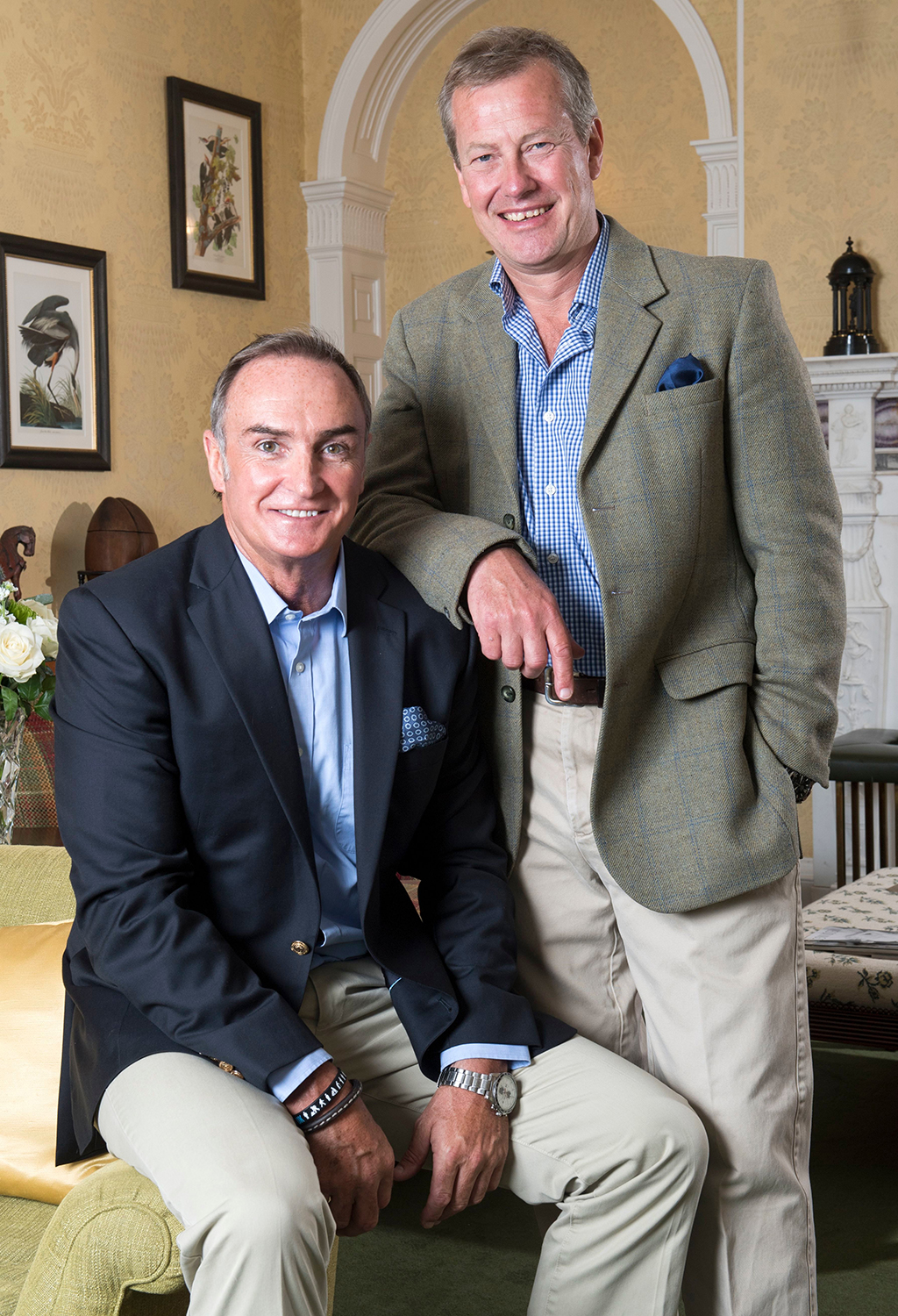 Lord Ivar Mountbatten (right) With His Fiancee James Coyle At Home In Uffculme Devon.