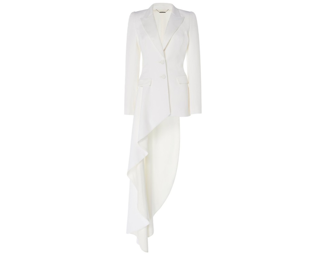 Ralph & Russo Asymmetric Crepe Blazer, inspired by the suffragette suit Kamala Harris wore during victory speech