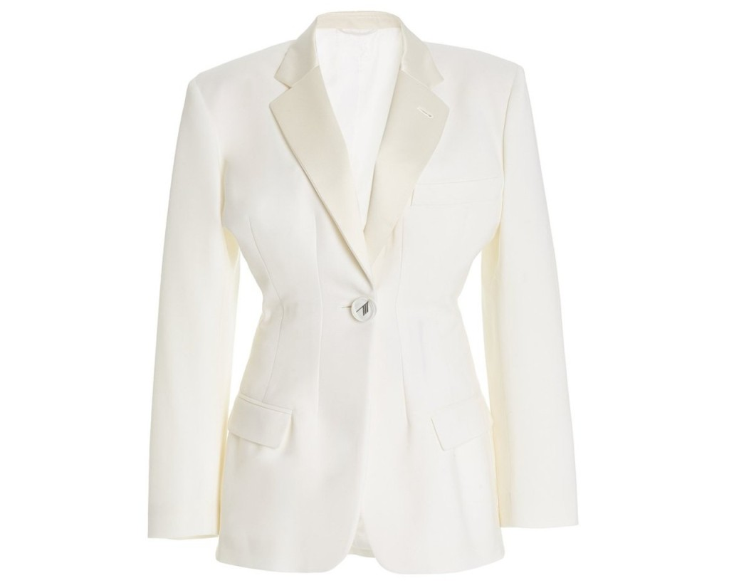 Attico stretch blazer, inspired by the suffragette suit Kamala Harris wore during victory speech