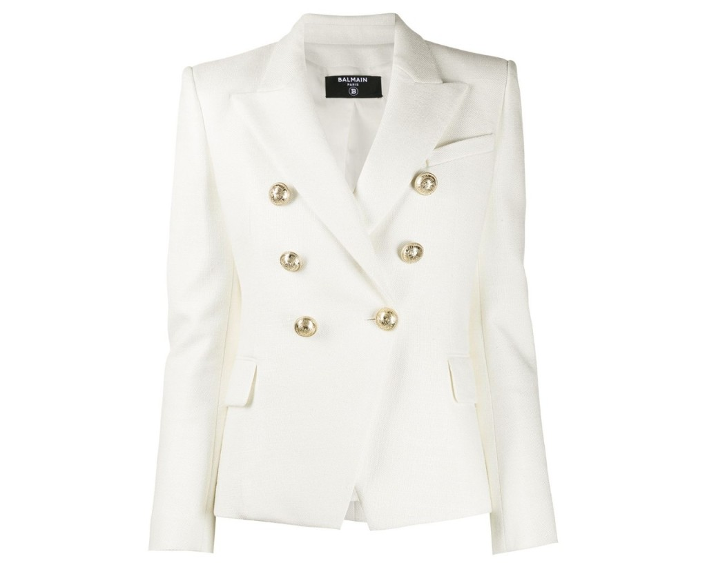 Balmain Textured Blazer, inspired by the suffragette suit Kamala Harris wore during victory speech