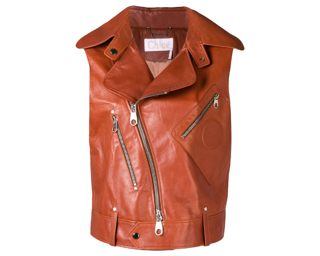 Chloe Asymmetrical Vest, inspired by Bella Hadid's brown leather vest