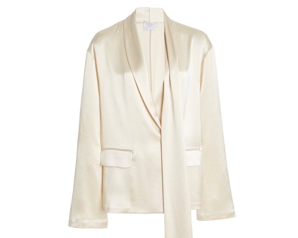 Deveaux Satin Blazer, inspired by the suffragette suit Kamala Harris wore during victory speech