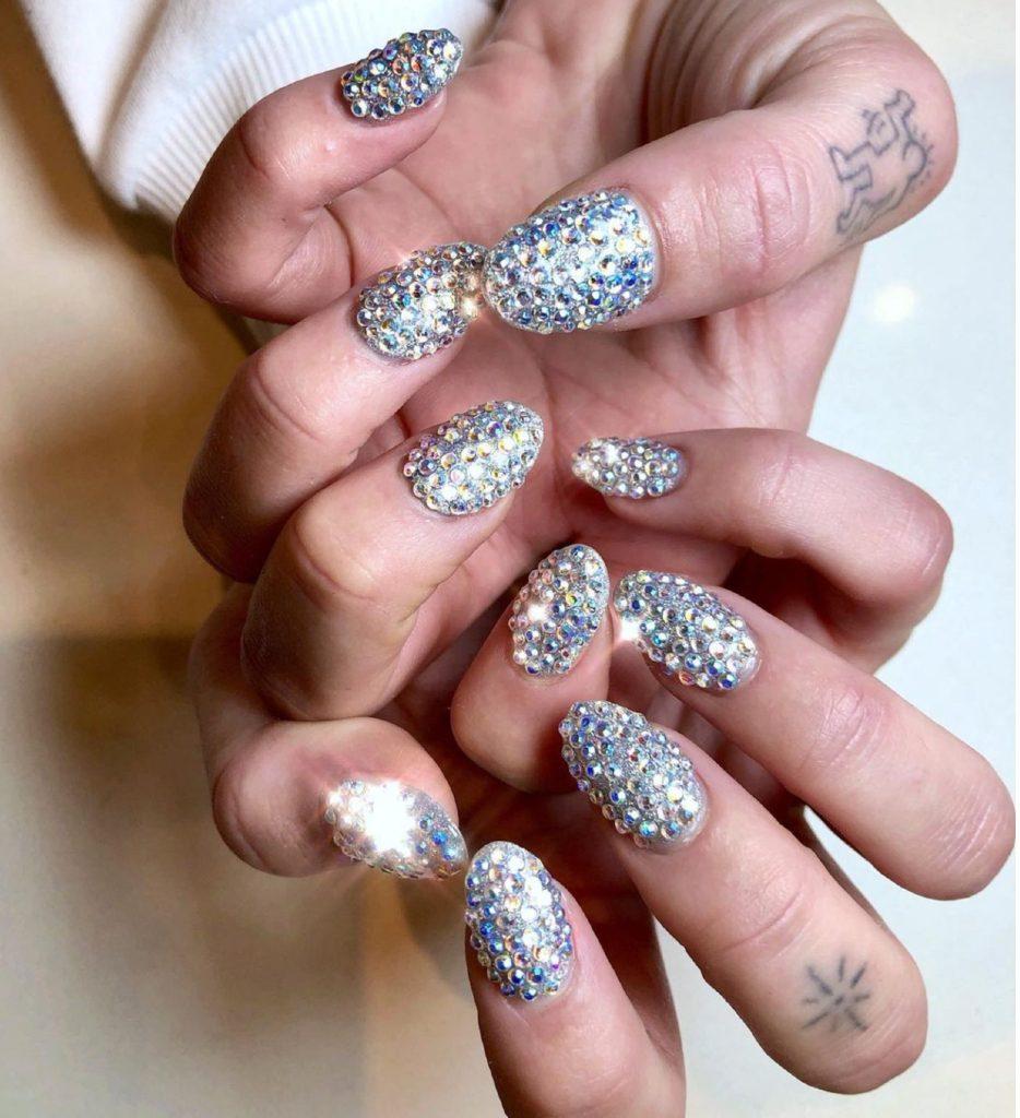 Dua Lipa Crystal Nails
