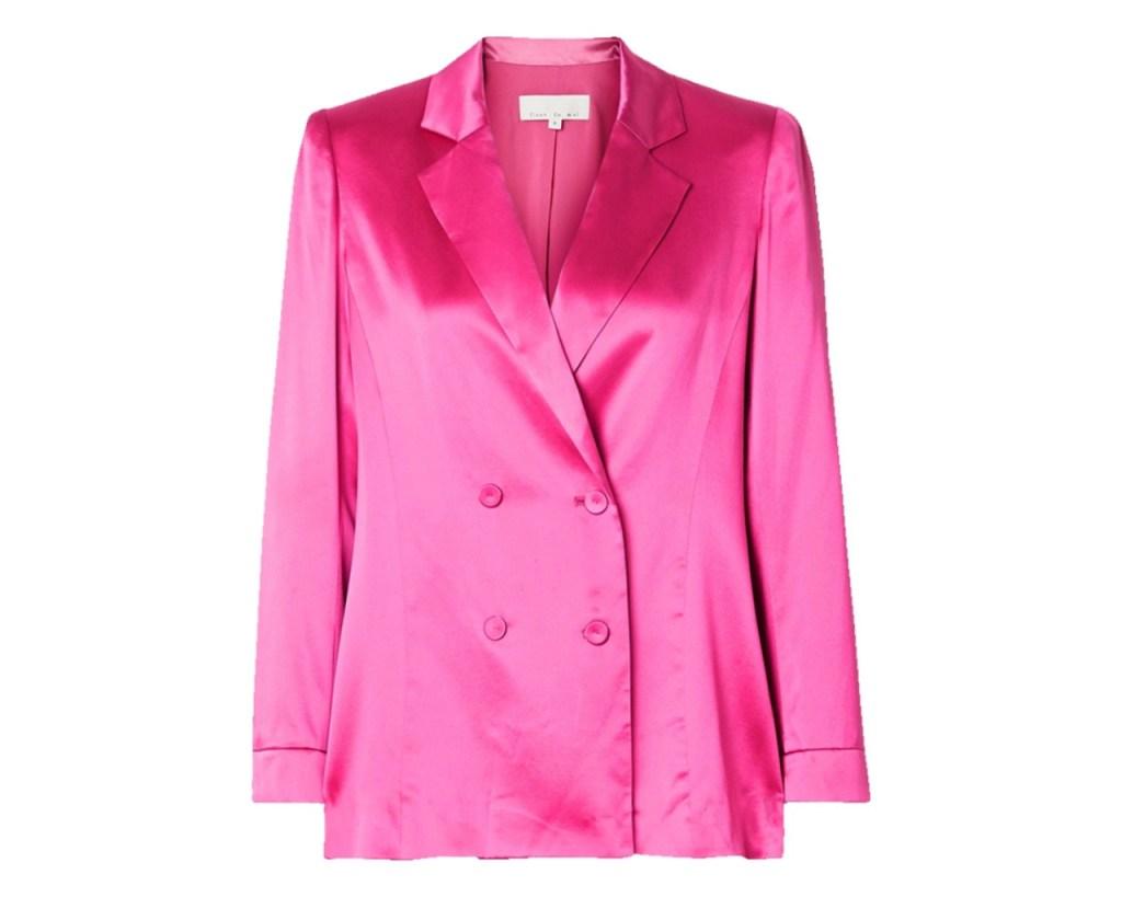 FLEUR DU MAL Double-breasted silk-satin blazer