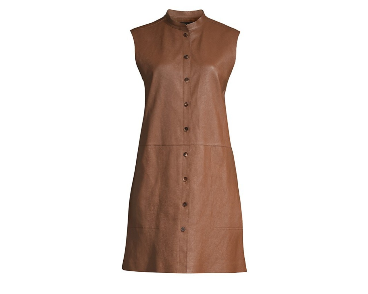 Lafayette 148 New York Malva Lamb Leather Longline Vest, inspired by Bella Hadid's brown leather vest