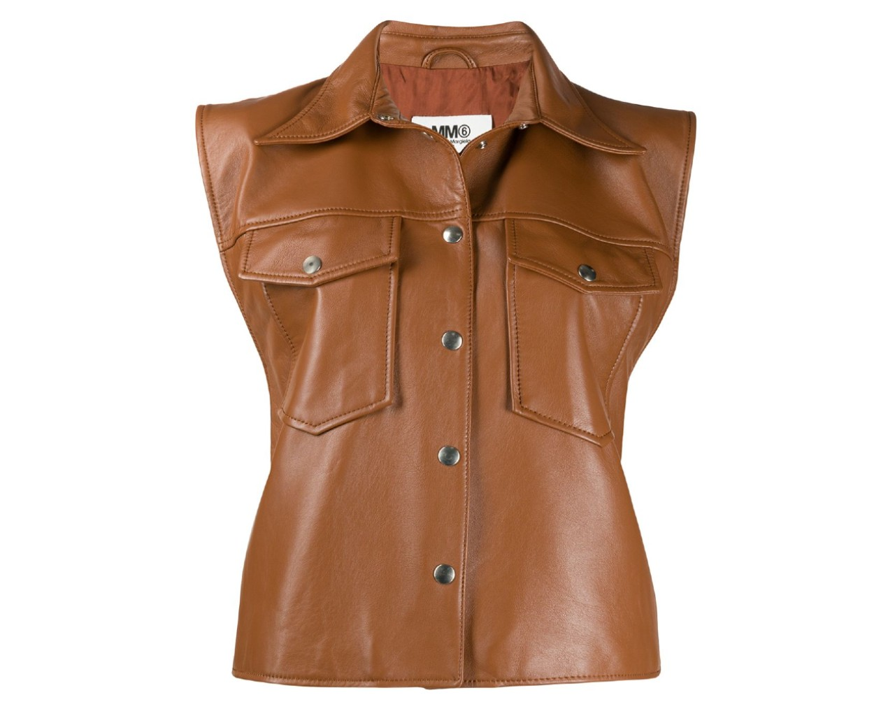 MM6 Maison Margiela sleeveless leather jacket, inspired by Bella Hadid's brown leather vest