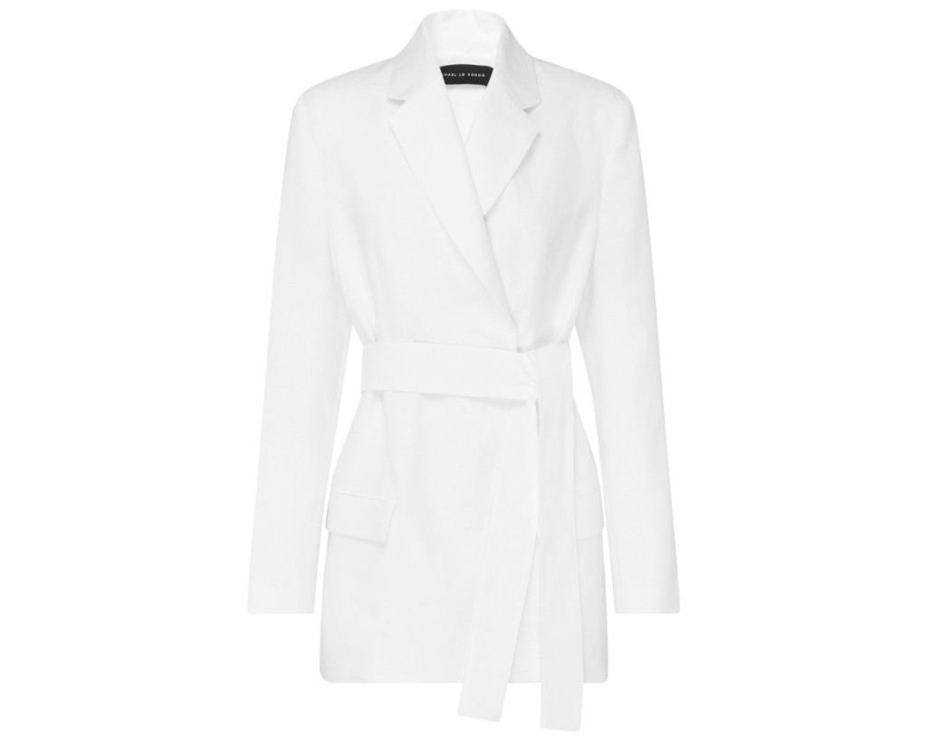 Michael Lo Sordo Boy Blazer, inspired by the suffragette suit Kamala Harris wore during victory speech