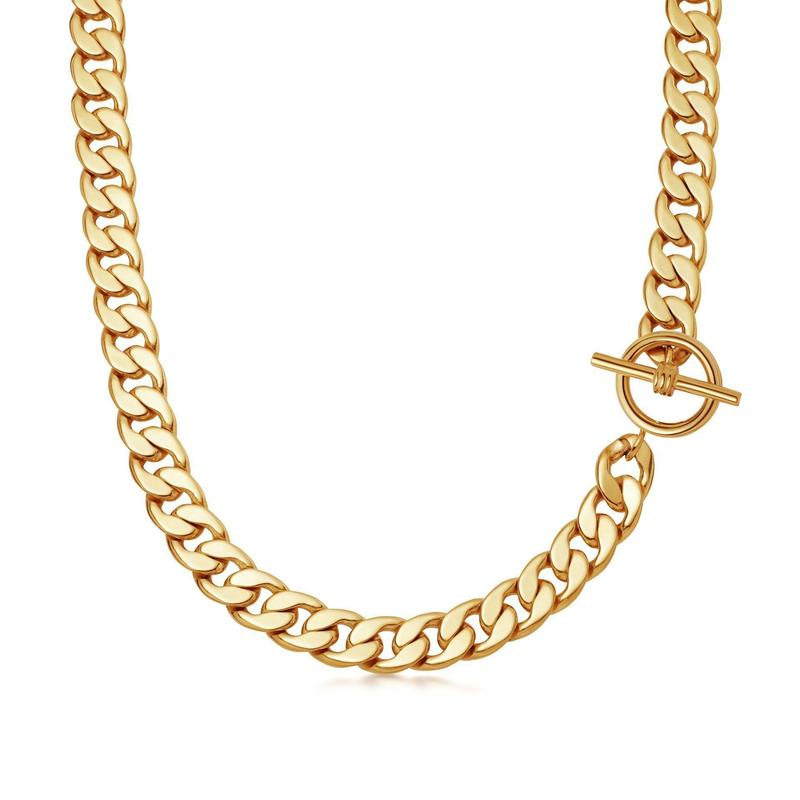 lucy williams gold t-bar chunky chain necklace