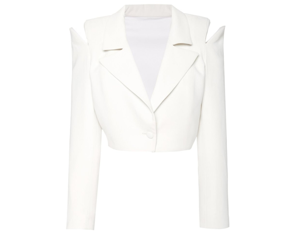Monot Cropped Blazer, inspired by the suffragette suit Kamala Harris wore during victory speech
