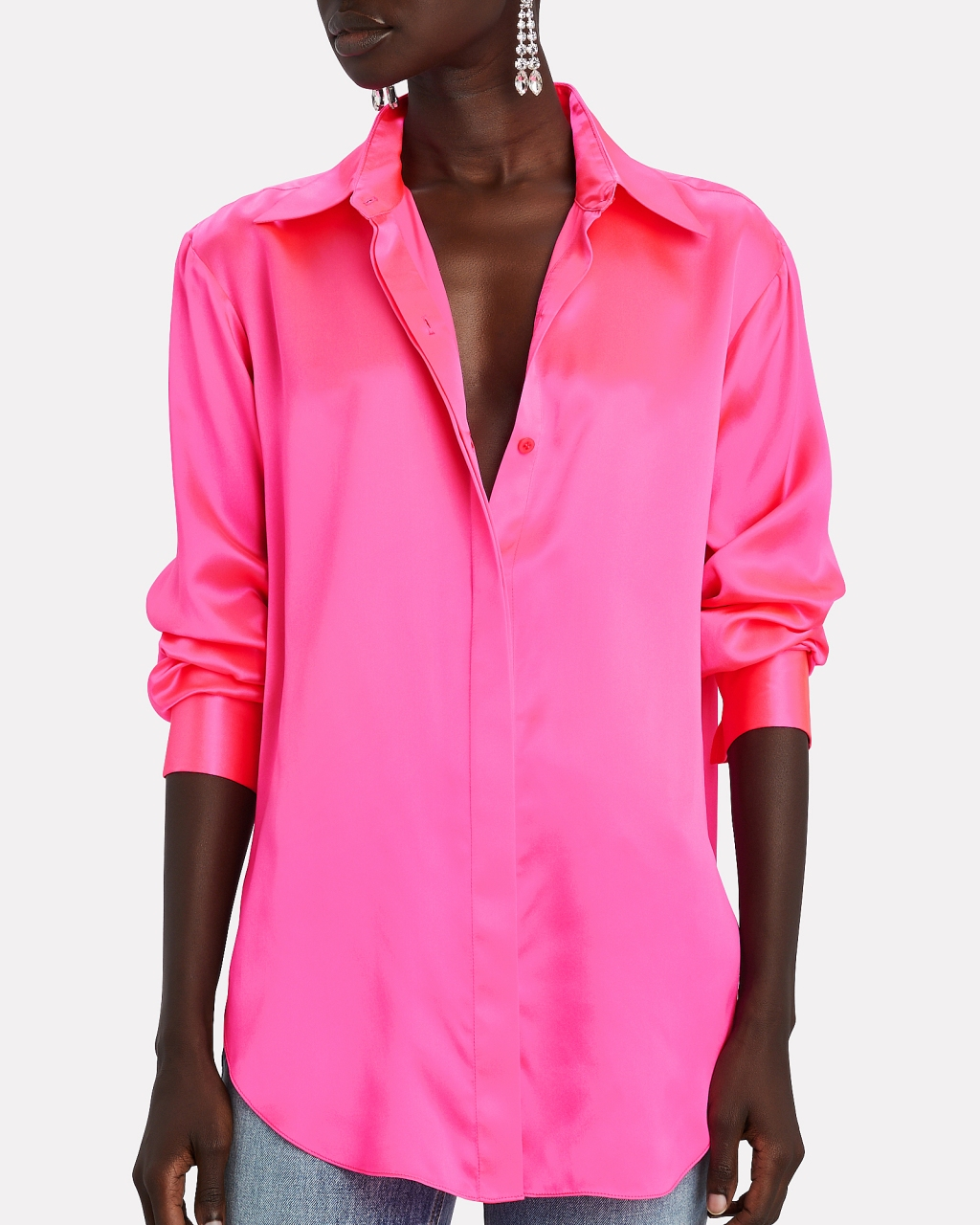 Area Silk Button-Down Blouse