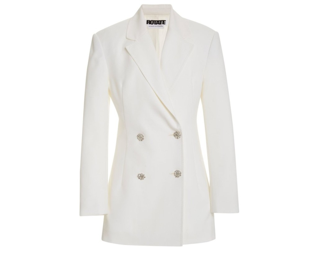 White Rotate blazer, inspired by the suffragette suit Kamala Harris wore during victory speech