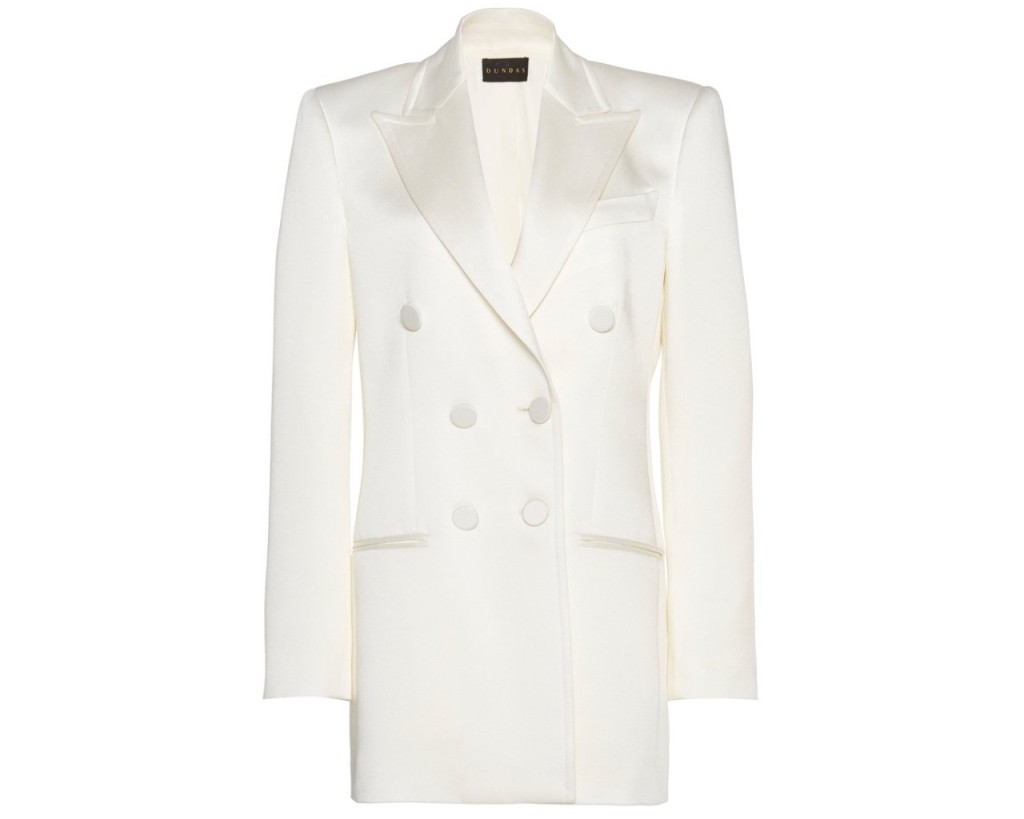 Dundas Satin Breasted Blazer, inspired by the suffragette suit Kamala Harris wore during victory speech