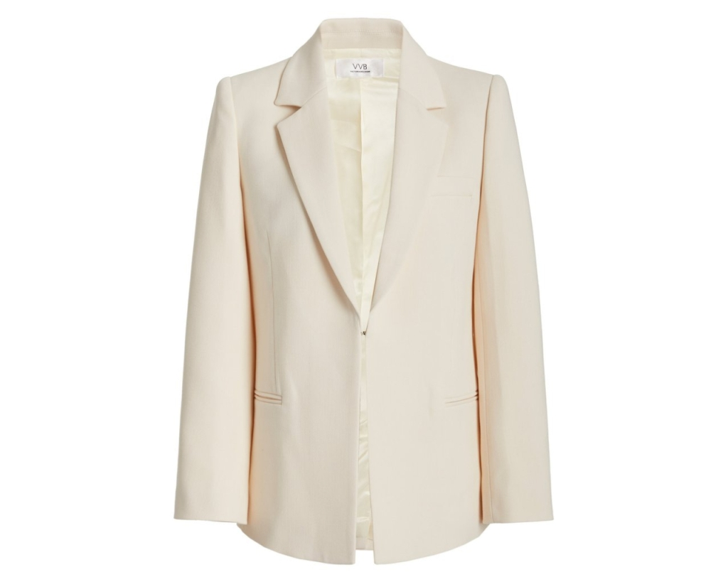 Victoria Beckham white blazer, inspired by the suffragette suit Kamala Harris wore during victory speech