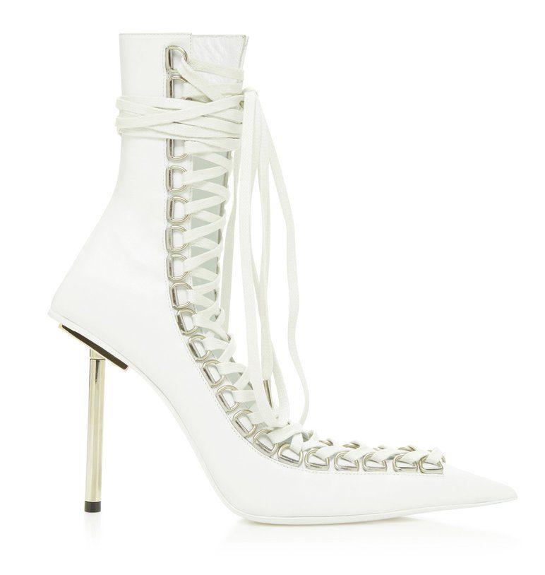 Balenciaga White Corset Booties